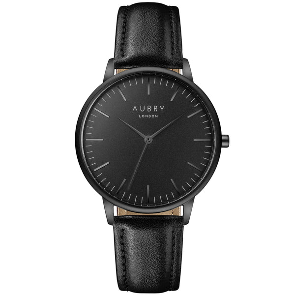 Aubry vegan watch - classic vegan leather 38mm black black