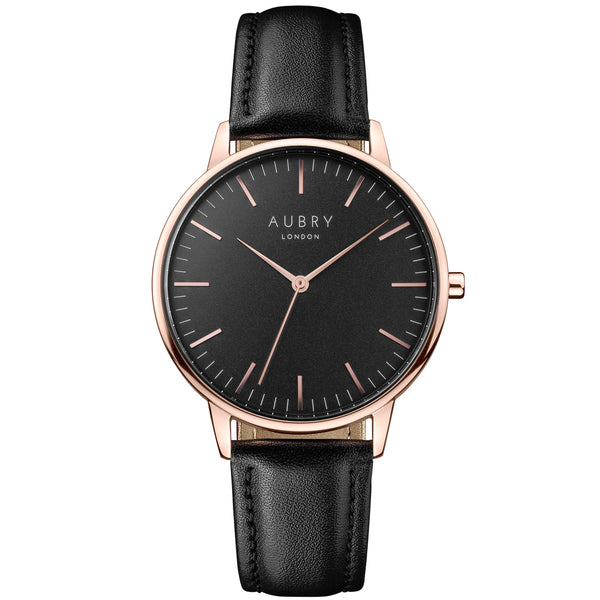 Aubry vegan watch - classic vegan black leather 38mm rose black