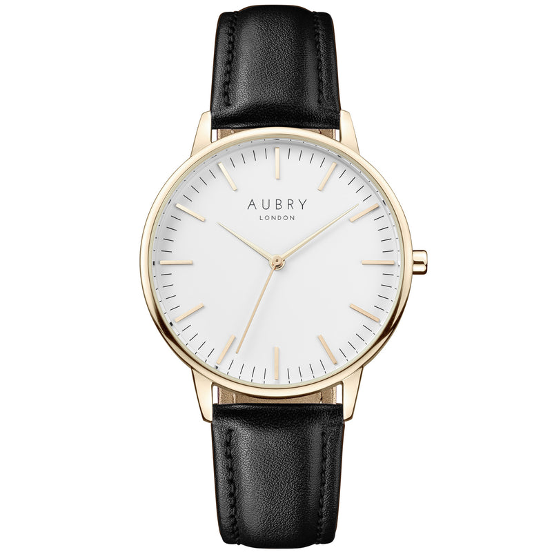 Aubry vegan watch - classic vegan black leather 38mm gold white