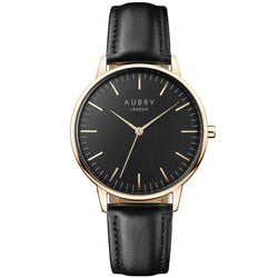 Aubry vegan watch - classic vegan black leather 38mm gold black