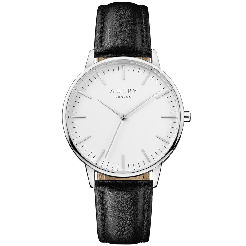 Aubry vegan watch - classic vegan black leather 38mm silver white