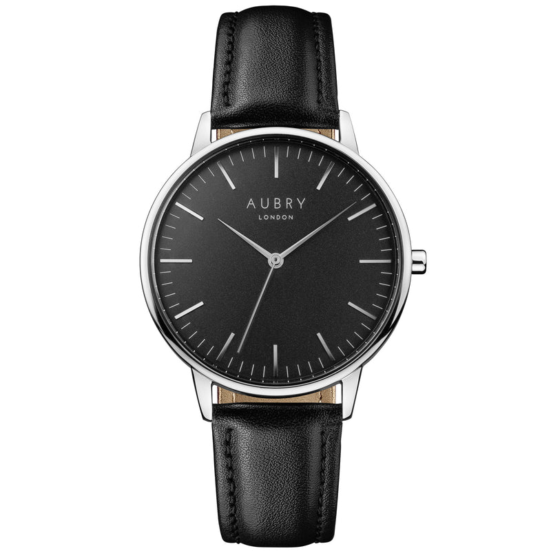 Aubry vegan watch - classic vegan black leather 38mm silver black