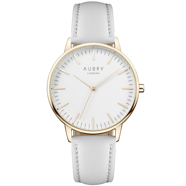 Aubry vegan watch - classic vegan grey leather 38mm gold white