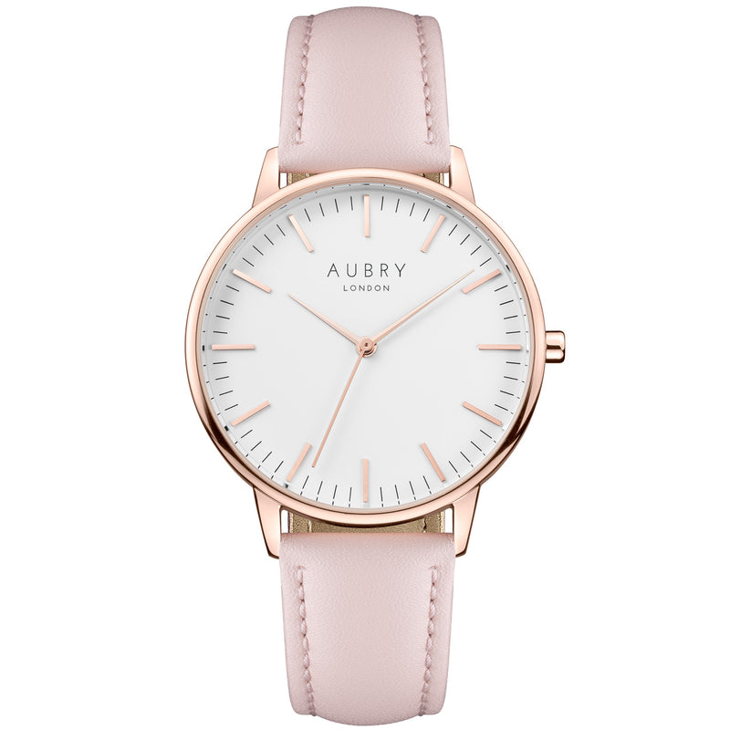 Aubry vegan watch - classic vegan pink leather 38mm rose white