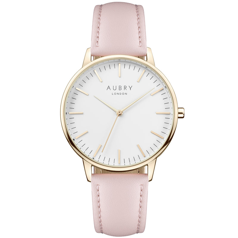 Aubry vegan watch - classic vegan pink leather 38mm gold white