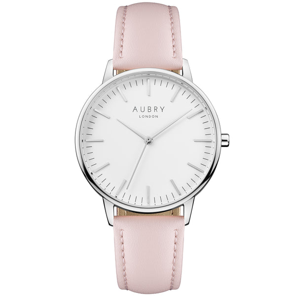 Aubry vegan watch - classic vegan pink leather 38mm silver white