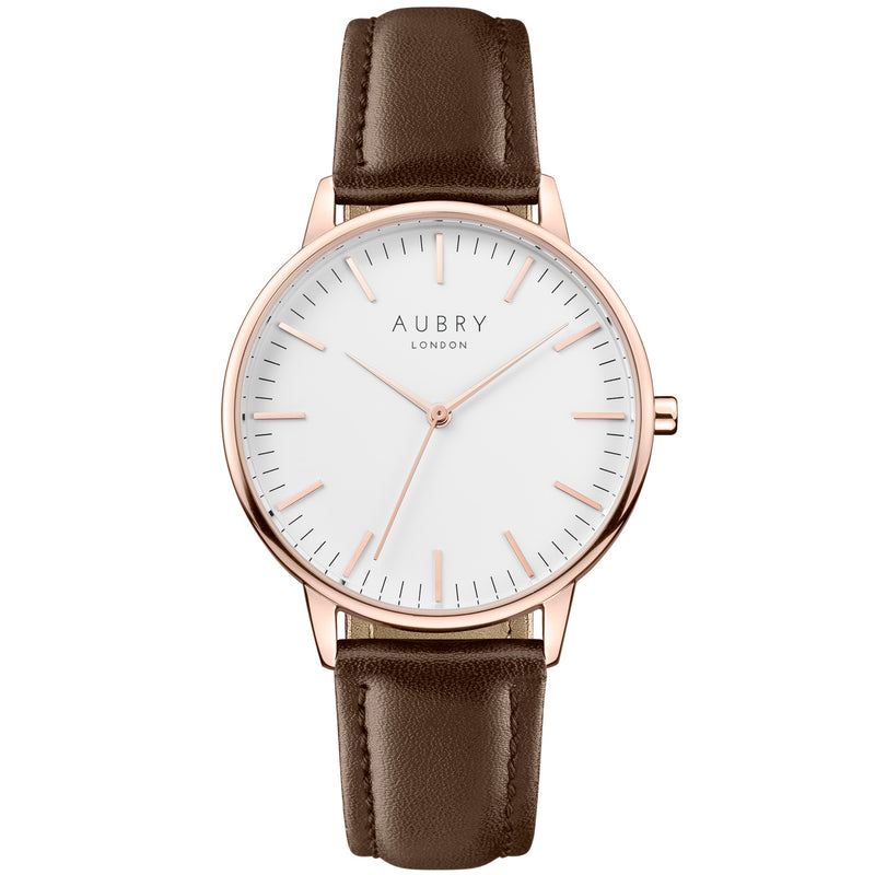 Aubry vegan watch - classic vegan brown leather 38mm rose white