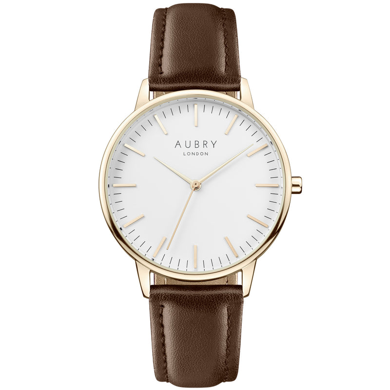 Aubry vegan watch - classic vegan brown leather 38mm gold white