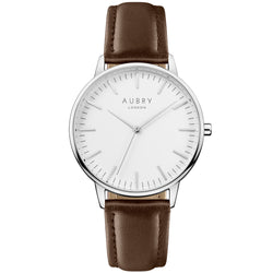 Aubry vegan watch - classic vegan brown leather 38mm silver white
