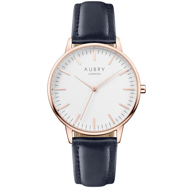 Aubry vegan watch - classic vegan blue leather 38mm rose white