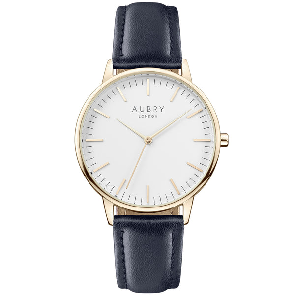 Aubry vegan watch - classic vegan blue leather 38mm gold white