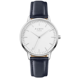 Aubry vegan watch - classic vegan blue leather 38mm silver white
