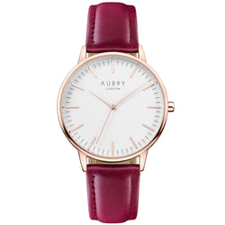 Aubry vegan watch - classic vegan red leather 38mm rose white