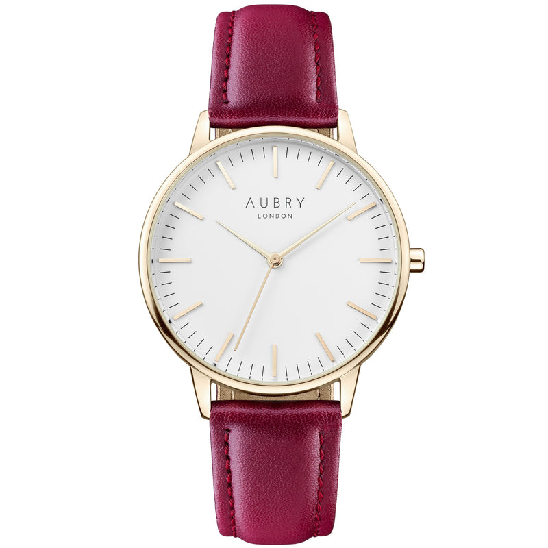 Aubry vegan watch - classic vegan red leather 38mm gold white