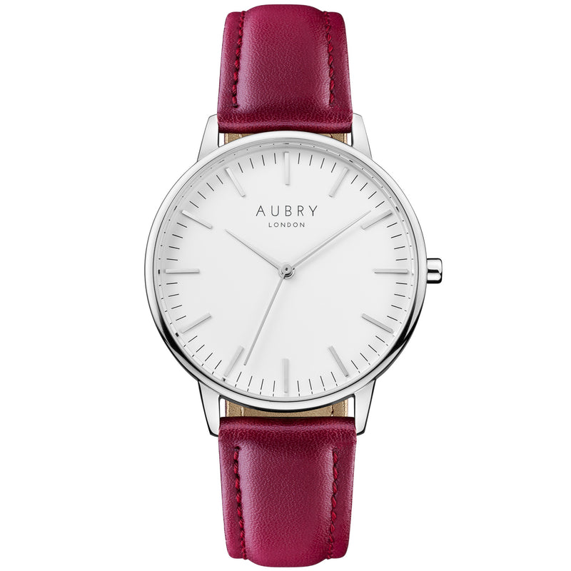 Aubry vegan watch - classic vegan red leather 38mm silver white
