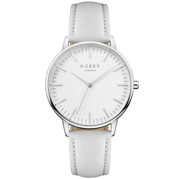 Aubry vegan watch - classic vegan grey leather 38mm silver white