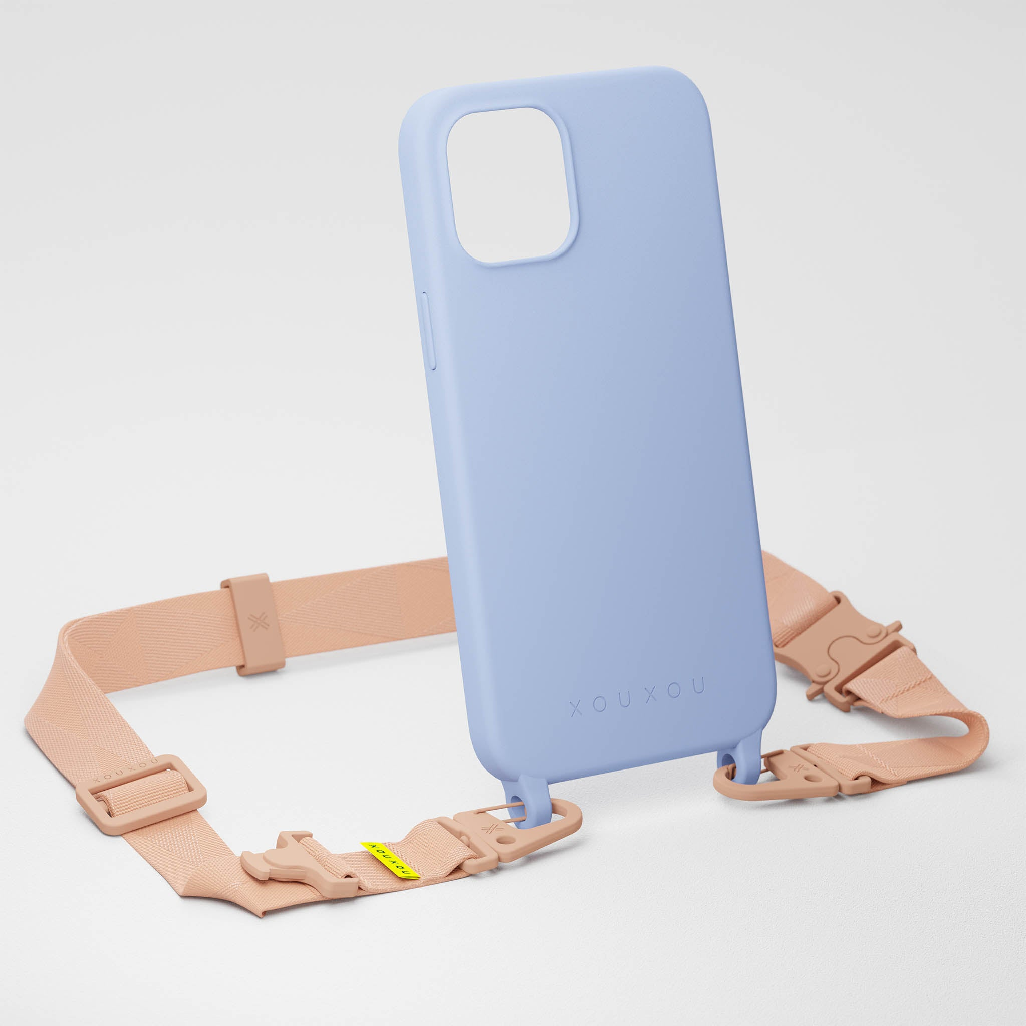 Baby Blue Silicone Case + Powder Pink Lanyard
