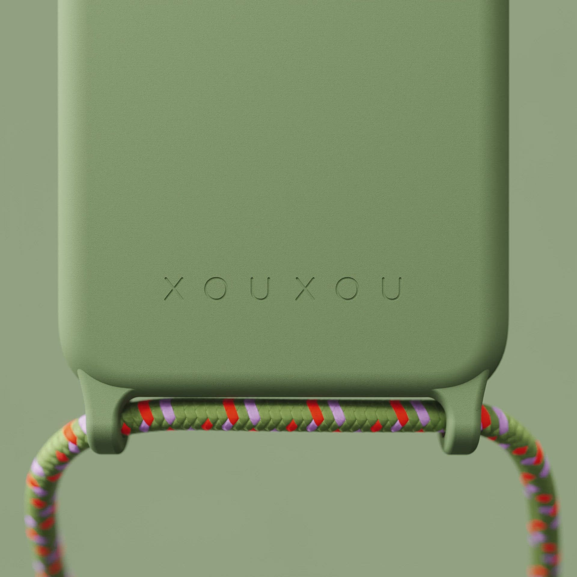 Light Olive Silicone Case + Orange Camouflage Rope