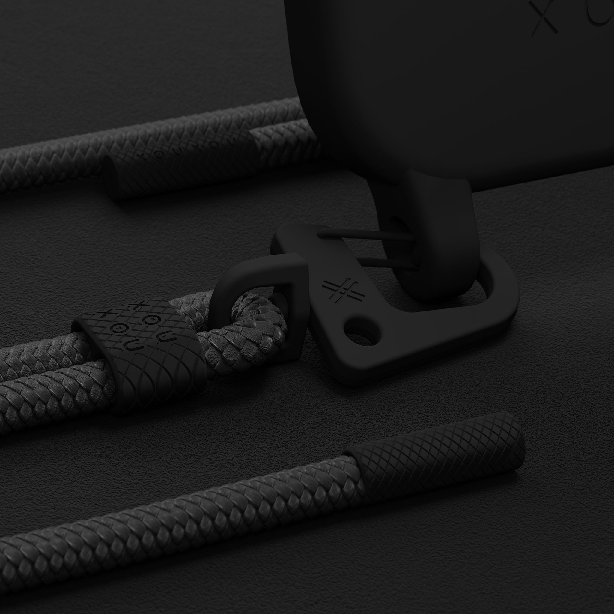 All Black Silicone Case + Carabiner Rope