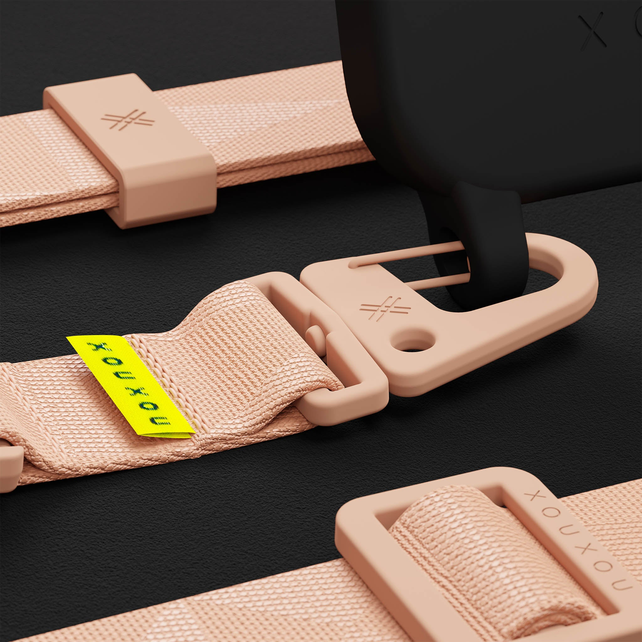 Black Silicone Case + Powder Pink Lanyard