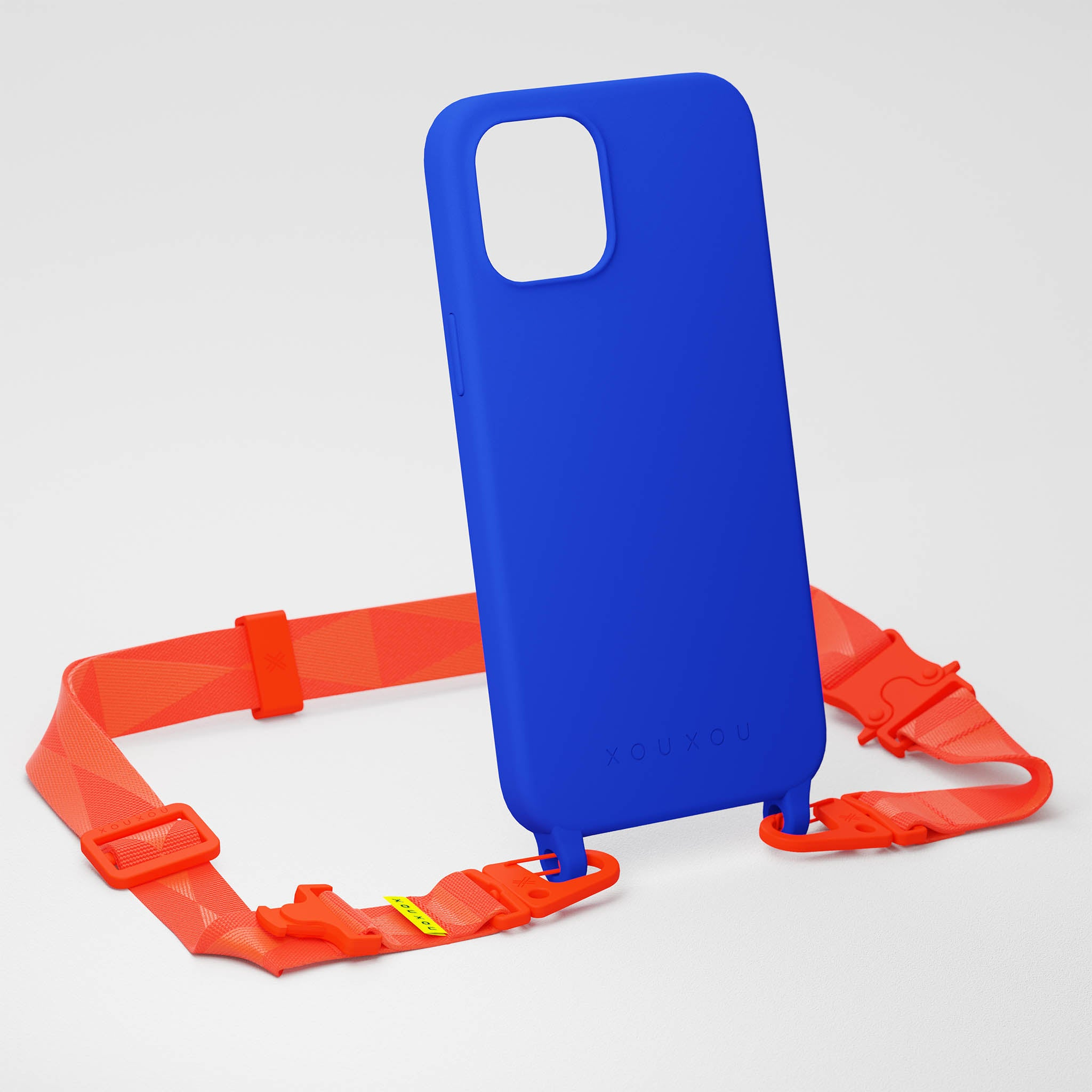 Blue Silicone Case + Neon Orange Lanyard