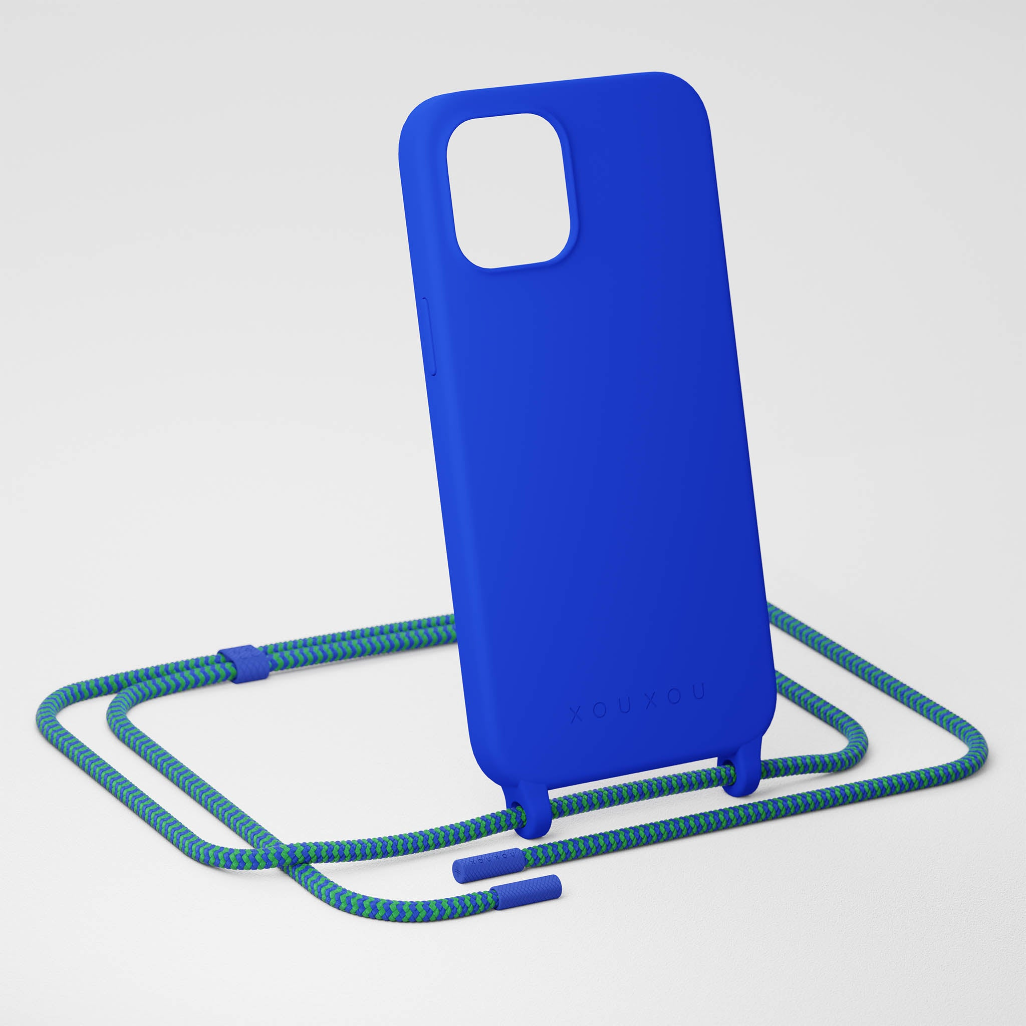 Blue Silicone Case + Yves Green Rope