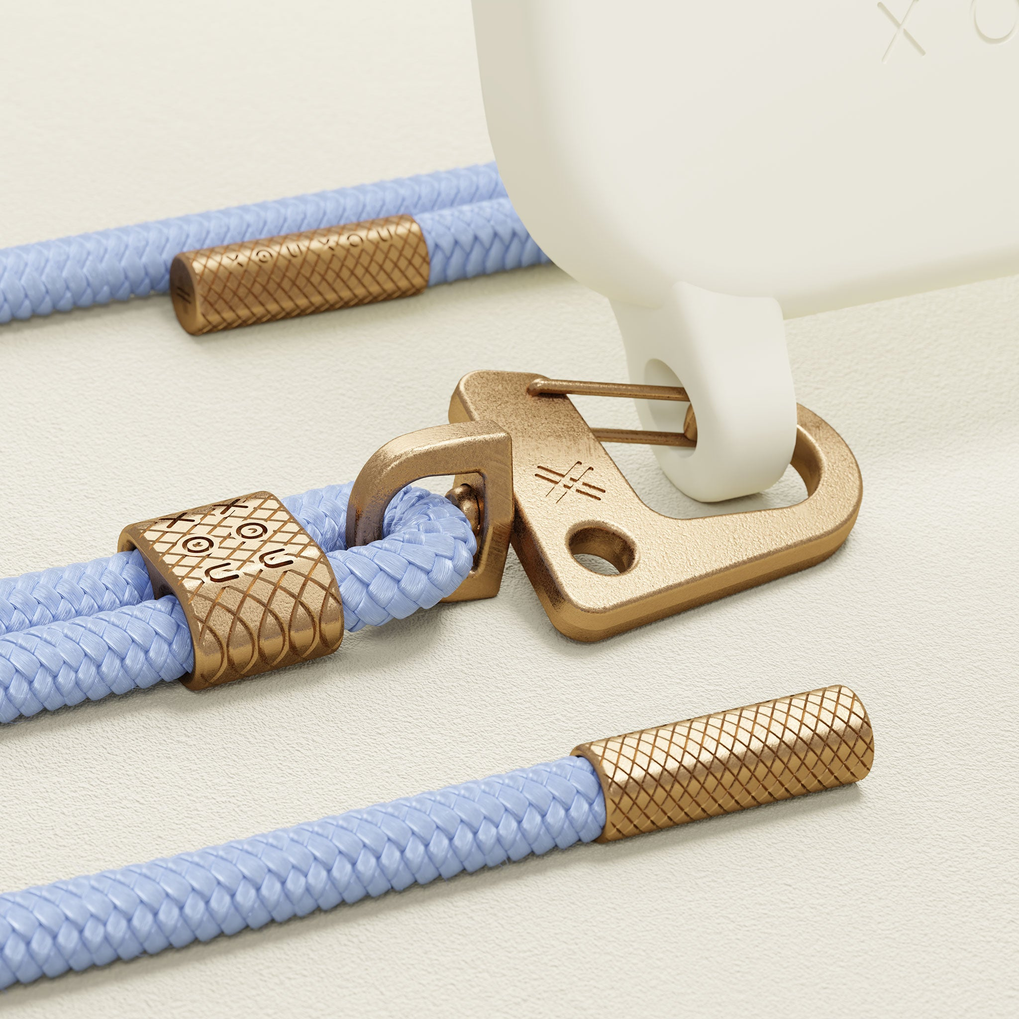 Chalk Silicone Case + Baby Blue Carabiner Rope