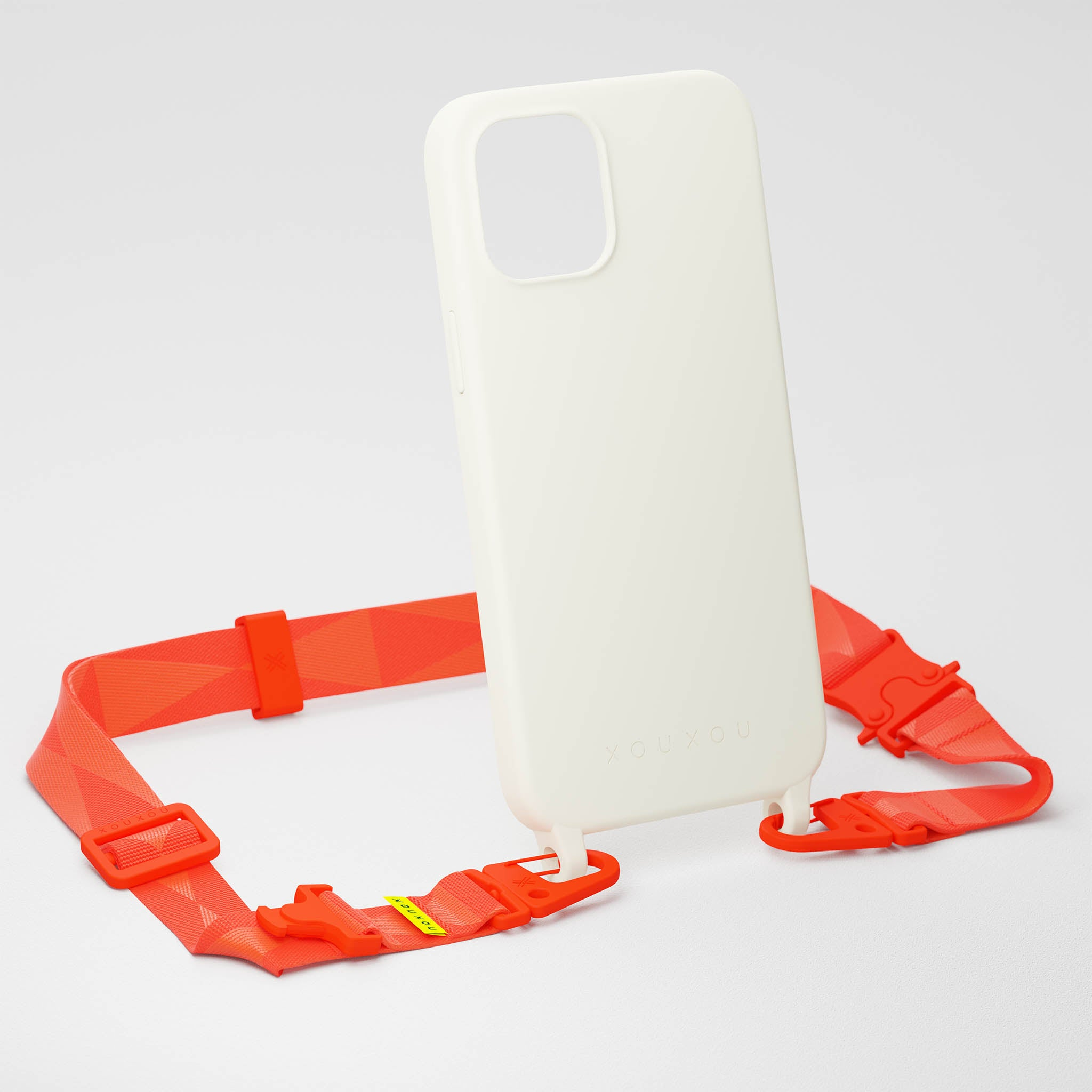 Chalk Silicone Case + Neon Orange Lanyard