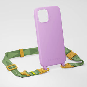 Lilac Silicone Case + Light Olive Lanyard