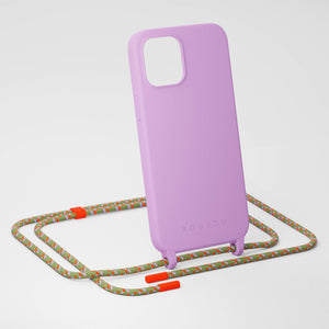 Lilac Silicone Case + Orange Camouflage Rope
