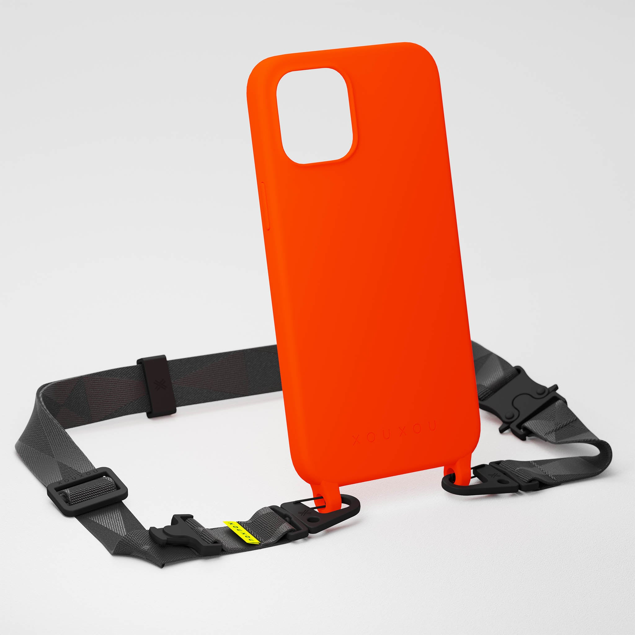 Neon Orange Silicone Case + Black Lanyard