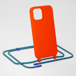 Neon Orange Silicone Case + Yves Green Rope