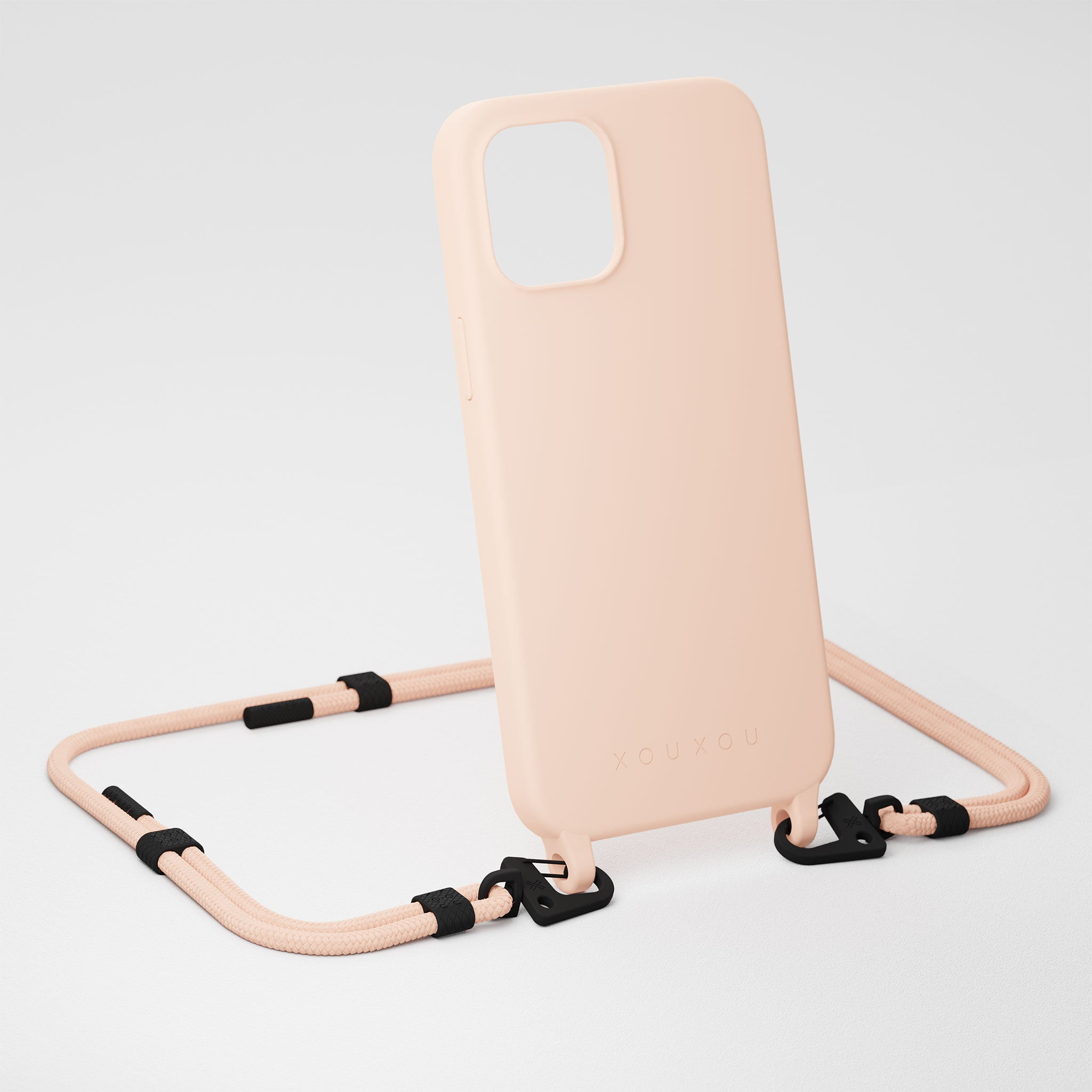 Powder Pink Silicone Case + Carabiner Rope