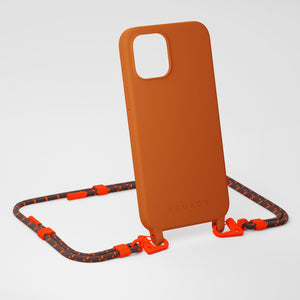 Rusty Red Silicone Case + Chestnut Carabiner Rope