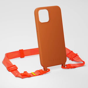 Rusty Red Silicone Case + Neon Orange Lanyard