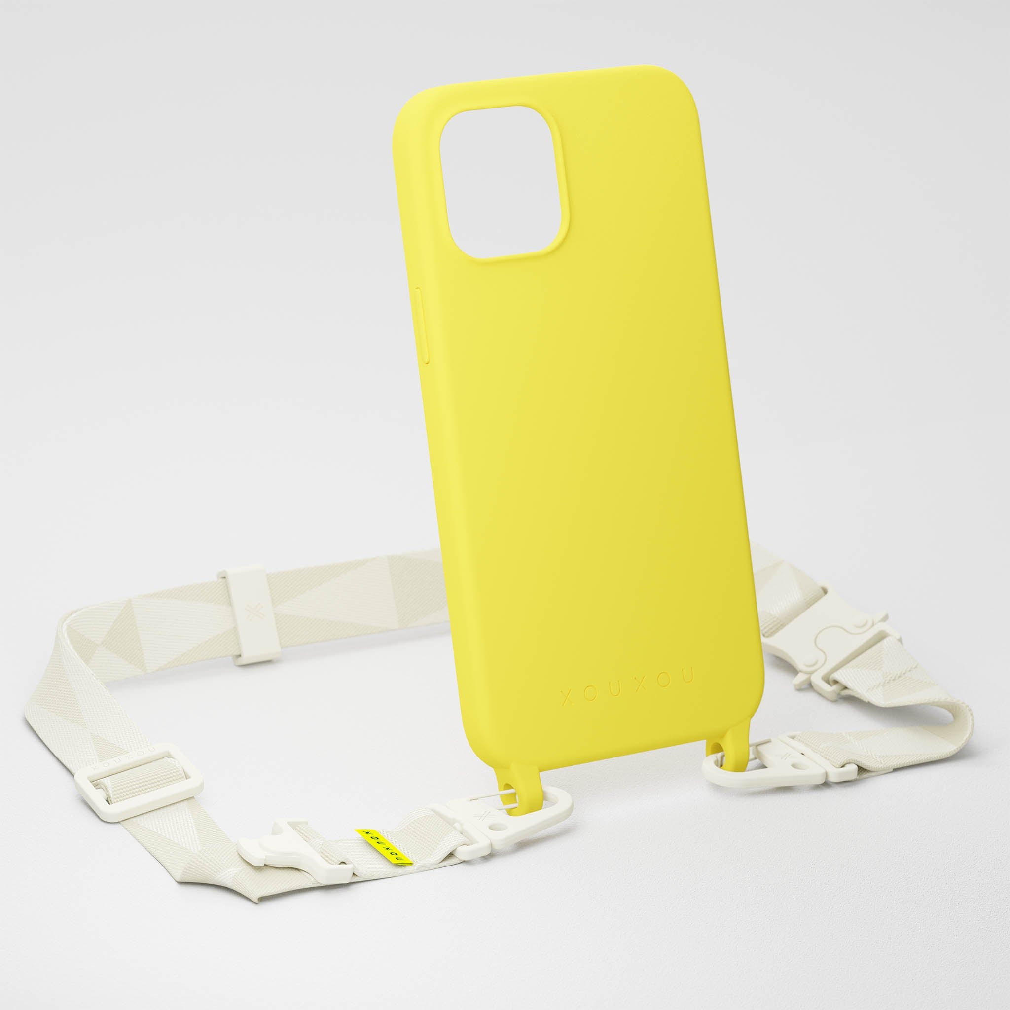 Yellow Silicone Case + Chalk Lanyard