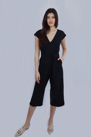 Front Tie Romper in Black