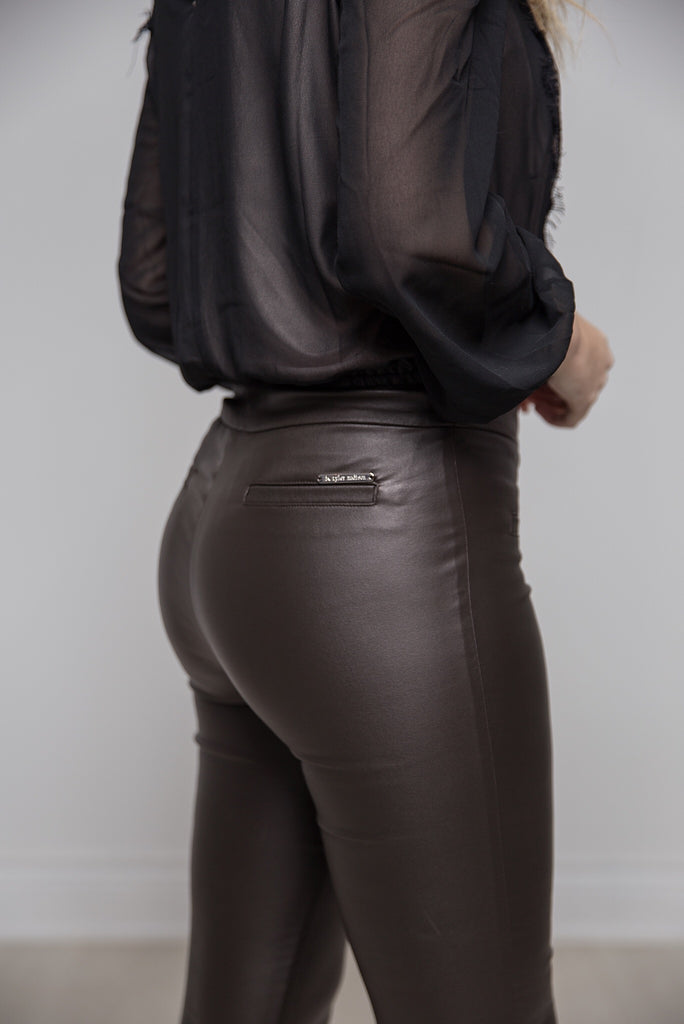 62ae5c6431 Mara Waxed Pants in Shimmery Brown - LUXFINDZ