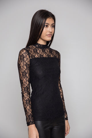 Black Lace Top Long Sleeve