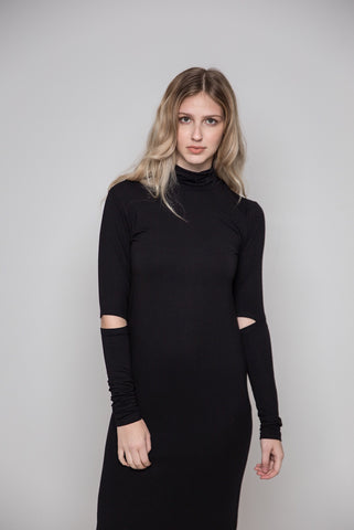 Elbow Cut Turtle Neck Dress