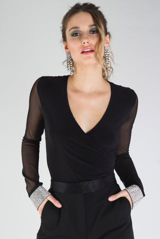 Wrap Front Knit Top With Diamante Cuffs