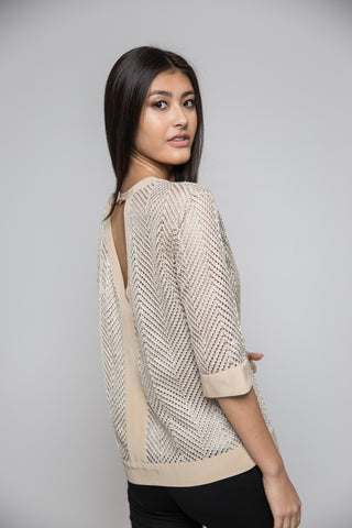 Beige Gold Knit Top with Cami