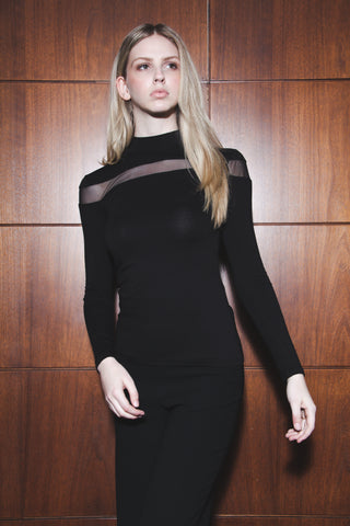 Black Mesh Cut out Tunic Top