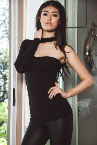 A Night Out Black One Shoulder Curvy Top