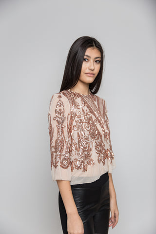 Rose Gold Sequined Top