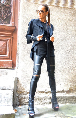 Extra Long Faux Leather Zipper Leggings