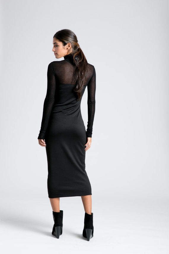 Black Sheer Top Dress Luxfindz