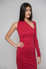 One Shoulder Asymmetric Bottom Dress in Red