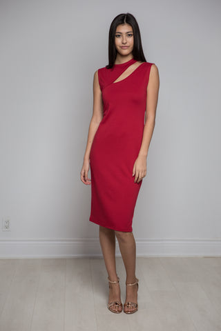 Leaf Cut Cocktail Dress in Red