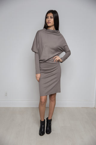 Angled Rusched Dress in Slate
